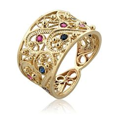 Exquisite 14K Yellow Gold Round Blue Sapphire Pink Ruby Yemenite Filigree Ring 7 #Handmade #Filigree
