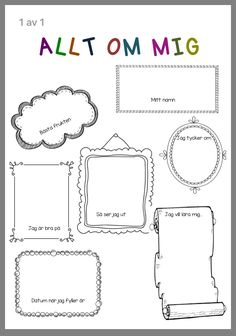 Fast, med bilder också. Classroom Activities, Preschool Activities, Preschool Crafts, Crafts For Kids, All About Me Book, Swedish Language, Write It Down, Kids Corner, Future Classroom