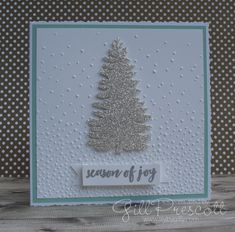 Welcome to another challenge here at Christmas Card Throwdown! This Christmas and winter themed challenge really helps you to get ahead . Winter Theme, Embossing Folder, Xmas Tree, I Card, Stampin Up, Christmas Cards, Lily, Snow, Seasons