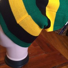 Extra long beanie.......soft stretchy fit . ...can be worn as a beanie or slouchy beanie Black, Green, yellow Size 11 x 7 Lida Collection  Accessories Hats