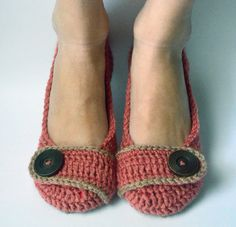 Crochet Womens Slippers Flats House Shoes by brokenhallelujah
