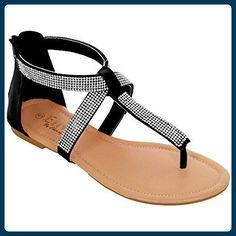 FANTASIA BOUTIQUE Damen Diamant Gewickelt Kreuz-riemen Damen Freizeit Riemen Sandalen Schuhe - Schwarz, 4 UK / 37 EU - Sandalen für frauen (*Partner-Link)