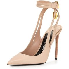 TOM FORD Leather Ankle-Lock 105mm Pump ($1,190) ❤ liked on Polyvore featuring shoes, pumps, heels, nude, ankle strap high heel pumps, nude shoes, nude heel shoes, leather pointed toe pumps and nude pumps