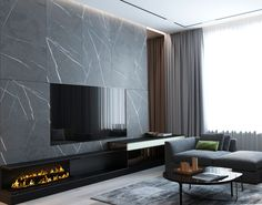 d Moscow, Fili grad on Behance Living Room Modern, Home Living Room, Interior Design Living Room, Tv Wanddekor, Living Room Tv Unit Designs, Home Room Design, Home Fireplace, Home And Deco, Luxurious Bedrooms