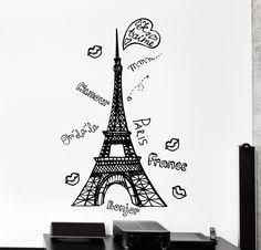Wall Vinyl Decal France Paris Love Romantic Eiffel Tower Home Interior Decor z4359