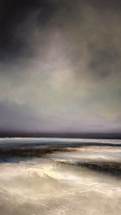 New original oil painting by British artist Michael Claxton. Full of texture with subtle hues this semi abstract seascape painting has a dreamy tranquil feel. #michaelclaxtonart #seascape #artwork