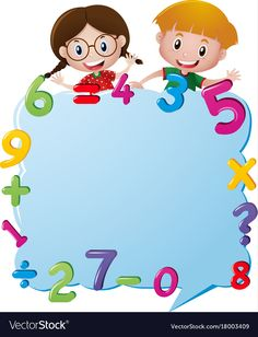 Border template with kids and numbers vector image on VectorStock Classroom Background, Kids Background, Murals For Kids, Art For Kids, Preschool Art, Preschool Activities, Math Border, Math Wallpaper, Teachers Day Poster