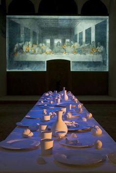 Peter Greenaway (multimedia artist/film director) created a 'son et lumiere' of Leonardo's Last Supper.