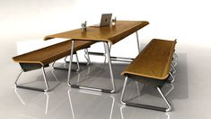 studio rottier AR9 table and bench bent oak, office furniture