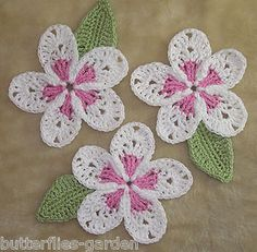 COTTON PLUMERIA FRANGIPANI FLOWERS & LEAF SET CROCHET EMBELLISHMENT APPLIQUÉ