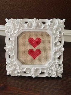 Two Hearts Cross-stitch | Storypiece.net  #craftwithlove