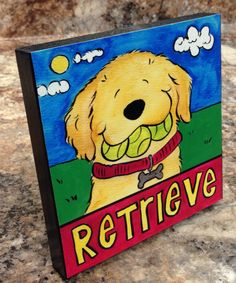 Golden Retriever Retrieve wooden plaque for table by JennysDogArt