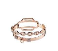 Hermes double tour bracelet in rose gold. 125 diamonds, .79 total carat  weight 6367c7590da