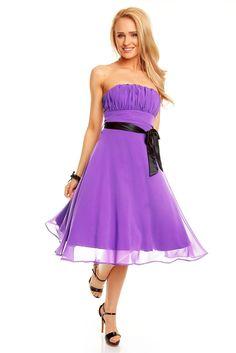d5dc6ad9625 Robe de soirée robe courte bustier couleur Mauve ceinture noir TM-181 -  ToufaMode