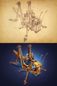 Steampunk Grasshopper Drawing and Digital Concept