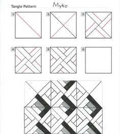Online instructions for drawing CZT® Maria Mason's Zentangle® pattern: Myko. Tangle Doodle, Tangle Art, Zen Doodle, Doodle Art, Zentangle Drawings, Doodles Zentangles, Doodle Drawings, Doodle Patterns, Zentangle Patterns