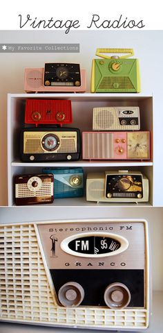 Vintage radio collection. {I am kicking myself for not picking up the tangerine-colored radio I saw last fall.}
