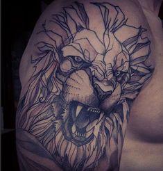 http://tattooideas247.com/lion-shoulder/ Geometric Lion Shoulder Tattoo #Geometric, #Lion, #Soulder