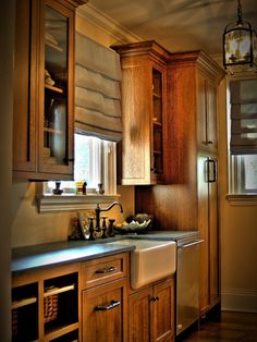 Beautiful Quarter sawn oak cabinets Butlers Pantry - eclectic - kitchen - new york - by CCS Woodworks Inc. Hickory Cabinets, Kitchen Cabinets Decor, Farmhouse Kitchen Cabinets, Kitchen Cabinet Design, Modern Kitchen Design, Interior Design Kitchen, Kitchen Wood, 10x10 Kitchen, Kitchen Grey
