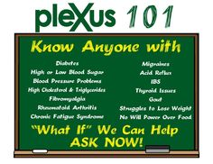 Do you or a loved one have any of these conditions. If you answered yes, then Plexus is for you. Get your health on the right track! Get on Plexus! www.plexusslim.com/sbrown