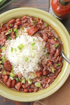 New Orleans Red Beans & Rice. There's nothing much more satisfying than a heaping hot bowl of New Orleans Red Beans and Rice Creole Recipes, Cajun Recipes, Bean Recipes, Crockpot Recipes, Cooking Recipes, Bratwurst Recipes, Haitian Recipes, Donut Recipes, Vegetarian Recipes