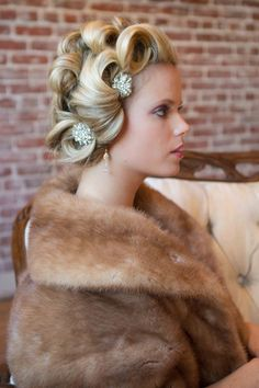 Hair Pins - I like the curls, too!  I don't know how you'd fit a veil into this equation, though, but I really like this,