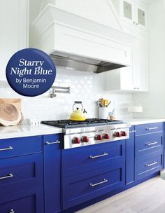The paint color: Starry Night Blue by Benjamin Moore, a bold indigo hue that conjures the color of a sapphire sky lightened by stars. Why we love it: This deep pigment is a great go-to when looking to energize a space with a jolt of color. Blue Kitchen Cabinets, Painting Kitchen Cabinets, Bathroom Cabinets, Kitchen Paint Colors, Cabinet Paint Colors, New Kitchen, Kitchen Decor, Kitchen Ideas, Cobalt Blue Kitchens
