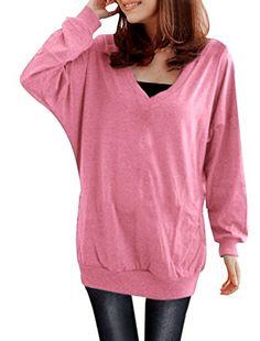 Allegra K Ladies V Neck T Shirt Batwing Top Casual Tops Loose Hoodies Blouses