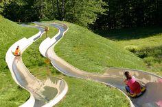 Stay in a mountain top condo.  Ski down in the winter or slide down in the summer.