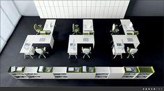 Bureau Open Space, Open Space Office, Office Space Design, Modern Office Design, Office Interior Design, Office Interiors, Desk Space, White Desk Office, Corner Office