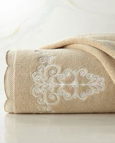 """""""French Perle"""" Embroidered Bath Towel, Ivory"""