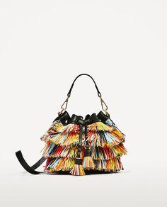 Image 2 of MULTICOLOURED FRINGED MINI BUCKET BAG from Zara