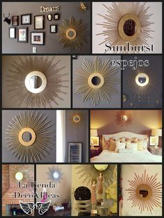 Espejos sunburst Sunburst mirrors gold and silver latiendadecoideas@gmail.com