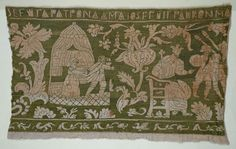 """Italy    Border Showing """"Joseph's Adventures"""", late 16th/early 17th century    Linen, plain weave; embroidered with silk floss in back and long-armed cross stitches  276 x 44.2 cm (10 7/8 x 17 3/8 in.)"""