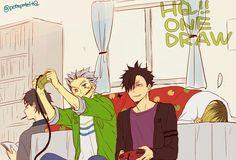 Haikyuu hang out. Kuroo and bokuto play video games, akaashi reading, and kenma trying to sleep X3