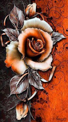 New flowers orange wallpaper vintage wallpapers 22 ideas Flower Phone Wallpaper, Butterfly Wallpaper, Flower Wallpaper, Wallpaper Backgrounds, Pretty Wallpapers, Live Wallpapers, Vintage Wallpapers, Art Floral, Orange Tapete