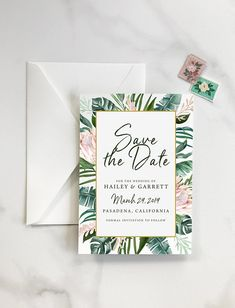 Tropical Save the Date, Destination Wedding Save the Date, Tropics Save the Date, Banana Leaf, Destination Wedding, Save the Date - DEPOSIT Invitation Envelopes, Wedding Invitations, Destination Wedding Save The Dates, Save The Date Designs, Unique Weddings, How To Introduce Yourself, Getting Married, Wedding Styles, Bridal Shower