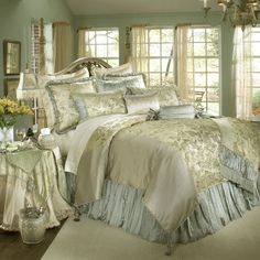Bedspread And Luxury Comforter Sets — Home Ceiling Inspirations Luxury Comforter Sets, Bedding Sets Uk, Gold Comforter, Satin Bedding, Queen Bedding, Blue Bedding, Bedroom Sets, Bedroom Decor, Snuggles