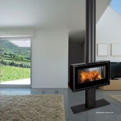 Chama Stoves Cristal 69 Stove Wood stove with turbines , decorated ... Stove Installation, Stove Fireplace, Home Appliances, Patio, Warm, Stoves, Decor, Wood Stoves, Boiler