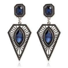 Brinco Feminino Elegante Pedra Azul