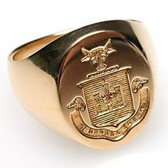 VINTAGE TIFFANY & CO SCOTTISH CREST SIGNET RING SOLID 14K GOLD