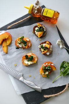 Peach Crostini with Goat Cheese & Honey