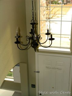 Homespun with love diy brass chandelier makeover maybe paint dining room chandelier spray painted and hung in foyer aloadofball Choice Image