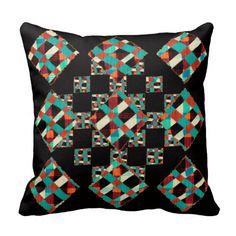 Primitive Tartan Weave Mosaic Red Green Black Boho
