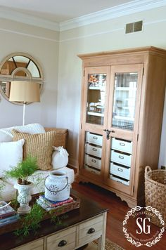 FAMILY ROOM CABINET-glass front cabinet-stonegableblog.com