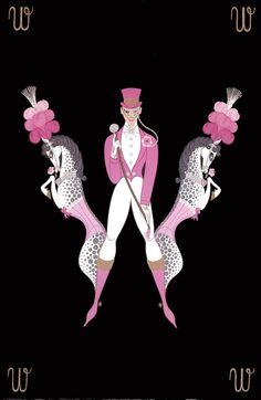 "Erte Art Deco Alphabet Series ""W, X"", Erotic Double Sided Vintage Print Alphonse Mucha, Gustav Klimt, Illustrations, Illustration Art, Art Nouveau, Erte Art, 7 Arts, Romain De Tirtoff, Alphabet"