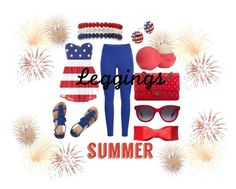 """""""Summer 4th of July Leggings"""" by dre4mingfantasy ❤ liked on Polyvore featuring Black Diamond, Dorothy Perkins, Chanel, Alexander McQueen, Kim Rogers, Eos, Leggings and WardrobeStaples"""