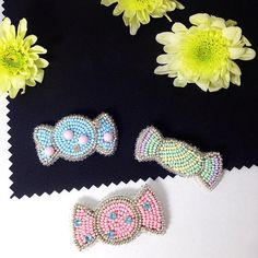 Brooch broach set of brooches candies colorful