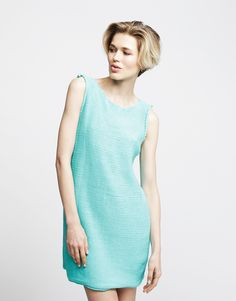 Rockaway Dress by Wool and the Gang, Magic Mint, Shiny Happy Cotton  #knitteddress #knitting #dress #mint #cotton