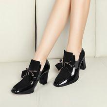 Nuevo 100% REAL PHOTO de alta zapatos de tacón bombas del dedo del pie cuadrado genuino de cuero zapatos de las mujeres de las señoras negro Sexy chaussure femme plus tamaño 34-44(China (Mainland))